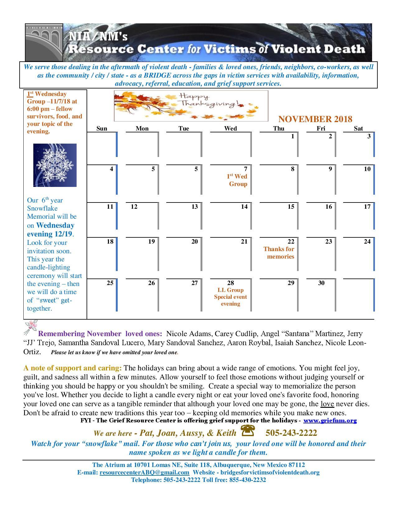 Nov 2018 Calendar
